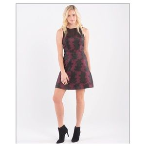 Kensie Fit and Flare dress with mesh neck size XS